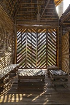 """An Open Ended Design for a Bamboo Flood Shelter."" A small structure entirely built of bamboo is envisioned by H&P Architects as a flexible design that can withstand floods in their native Vietnam."
