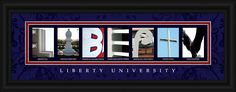 Liberty University Campus Letter Art features high-quality, individual photos of buildings or sculptures taken on campus. A caption is included below each photo showing where it was taken. Expertly framed in a Black Wood Frame with a crystal cl. My Liberty, Liberty University, College Graduation, Letter Art, College Life, The Ordinary, Religion, Vibrant, Christian