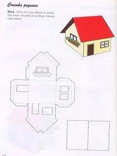 Pedagógiccos: Moldes de casas para maquete Cardboard Houses For Kids, Cardboard Dollhouse, Cardboard Paper, Cardboard Crafts, Paper Houses, Paper Toys, 3d Paper Crafts, Scrapbook Paper Crafts, Paper Art