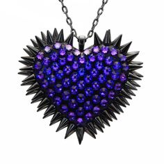 """""""Xirius"""" Spiked & Pavèd Heart Necklace in Heliotrope"""