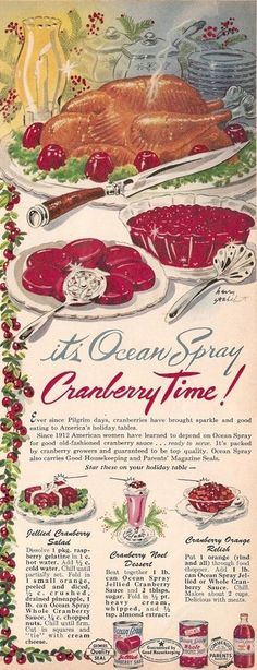 Vintage ad for Ocean Spray cranberry products