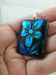 BLUE DAISY - Hand Engraved on Dichroic Glass Pendant + Free Cord by Cheryl Smith