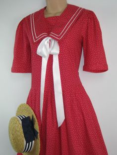 LAURA ASHLEY Vintage Geranium Red Polka Dot by VINTAGELAURAASHLEY, £160.00