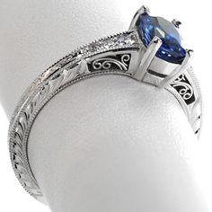 Sapphire Barcelona - Knox Jewelers - Minneapolis Minnesota - Hand Engraved Engagement Rings - Barcelona, Filigree, Hand Engraved, Blue Sapphire
