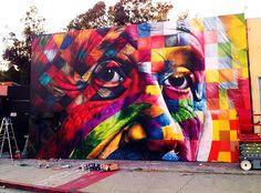Brazilian artist Eduardo Kobra's paint of Albert Einstein in Los Angeles (2013)