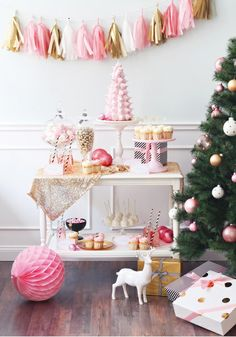 Pink Christmas Dessert Buffet