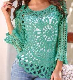 Fabulous Crochet a Little Black Crochet Dress Ideas. Georgeous Crochet a Little Black Crochet Dress Ideas. Blouse Au Crochet, Black Crochet Dress, Crochet Cardigan, Crochet Circle Vest, Irish Crochet, Crochet Lace, Crochet Gratis, Step By Step Crochet, Crochet Woman