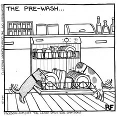 © Off The Leash Dog Cartoons / Rupert Fawcett The Pre Wash Cute Funny Animals, Funny Animal Pictures, Funny Dogs, Dog Pictures, Love My Dog, Dogs Tattoo, Tattoo Silhouette, Dog Jokes, Dog Humor
