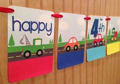 Transportation VEHICLES Birthday Banner  :  Cars, Trucks, Bus,Train, Police Car, Rescue on Etsy, $16.00