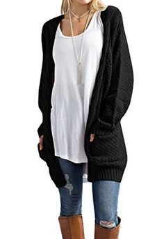 20ac2f0c Imily Bela Womens Boho Long Sleeve Open Front Chunky Warm Cardigans  Pointelle Pullover Sweater Blouses XLarge Black ** Find out more about the  great product ...
