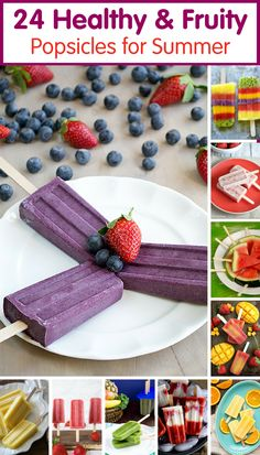 24 Healthy Fruity Popsicle Recipes for Summer - skip the store-bought popsicles and make these healthier ones at home! /produceforkids/