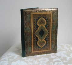 Vintage Italian Leather Florentine Journal Book Cover Portfolio Notebook Planner Accessory, Green Gold Embossed Paisley, Italy