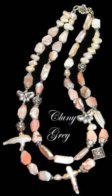 cultured freshwater pearl necklace has two strands of cultured freshwater pearls and pink Botswana agates