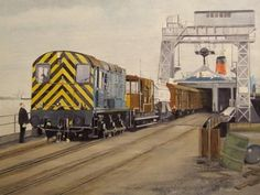 https://flic.kr/p/9k8cne | Railway Painting by Michael Land | Class 08 Diesel loading the Cambridge Train Ferry at Harwich Quay