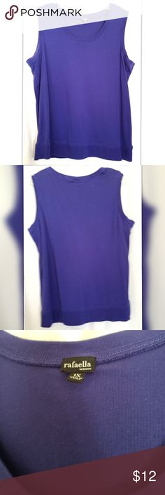 """Rafaella Purple Shell 100% Cotton Sleeveless purple cotton shell has plenty of stretch, but keeps its shape. This top was worn under the Ruby Rd blouse also listed in my closet. Has slight fade marks under arms, but otherwise, no picks, stains or tears.   * Banded bottom hem * Size 1X * Shoulder to hem 26"""" * Armpit to armpit 24"""" * Machine wash /lay flat to dry * Color purple Rafaella Tops Tank Tops"""