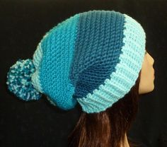 Carlyle Slouch Hat, Slouchy Beanie, Slouch Hat, Slouchy Hat, Slouch Hat, Color Blocking Hat - Shades of Blue by berly731 on Etsy