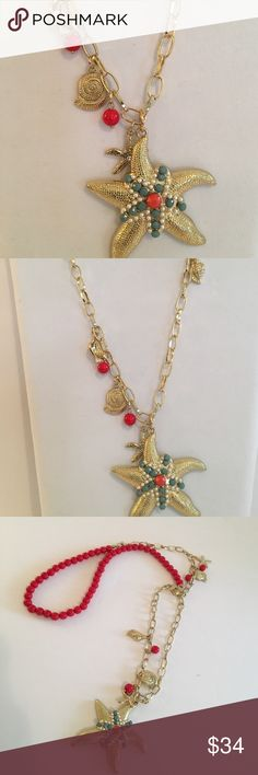 💕💕LILY INSPIRED STARFISH NECKLACE NWOT Statement Starfish Necklace , Gold Tone With Partial Red Beading , Charms Lead Up To A Stunning Gold Starfish Accented With White , Blue , And Coral Beading 💕💕 Jewelry Necklaces