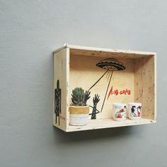 Wooden storage box with original artwork by ultramanminmun