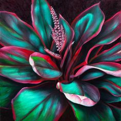 Nature Art | Red-Green Ti Leaves by Philip Sabado -