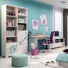 Colecția de mobilier Fancy Mint este ideală pentru a mobila camera fetitei voastre. Albul domină din punct de vedere cromatic fiecare piesă a gamei, fiind completat perfect de dozele mici de negru și turcoaz. Piesele din aceasta colecție sunt realizate din MDF și PAL .