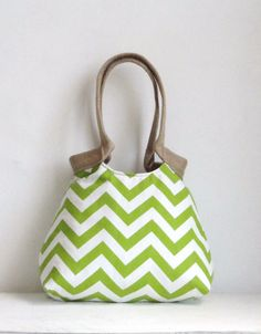 green chevron hobo bag with burlap - etsy find