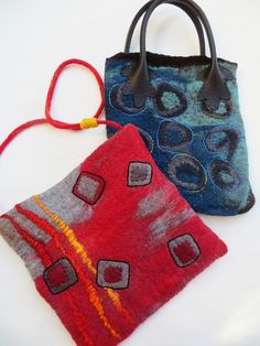 hand made by Jane LaFazio. wet  felted purses from merino wool roving.
