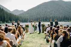 Rustic wedding venue in British Columbia. Ceremony at the edge of Lightning Lake in Manning Park