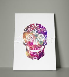 Sugar Skull Canvas Watercolor Wall Art Home Decor Nursery Wall Art Skull Art Poster Sugar Skull Gifts Painting Poster Personalised Custom