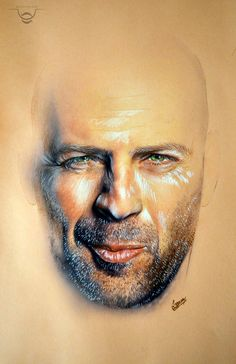 Soft pastel Rembrandt style and Carbothello of Bruce Willis