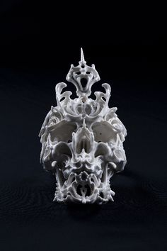 "Japanese artist Katsuyo Aoki created these astonishingly intricate porcelain skulls for his series ""Predictive Dream."""