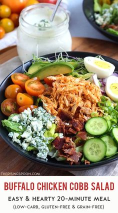 Craving a big, hearty salad that's packed with protein? Fix this quick & easy buffalo chicken cobb salad. It's layered with crisp lettuce, tender chicken, tangy buffalo sauce, crumbled blue cheese, creamy avocado, juicy tomatoes, crunchy cucumber, salty bacon, and more! Top it with a quick homemade blue cheese dressing or red wine vinaigrette and you're ready for a satisfying meal that'll make everyone happy to eat their veggies. (low-carb, gluten-free grain & grain-free) Best Salad Recipes, Real Food Recipes, Chicken Recipes, Healthy Recipes, Coleslaw Recipes, Easy Salads, Summer Salads, Healthy Comfort Food, Quick Dinner Recipes