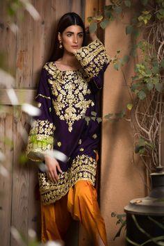 Royal purple raw silk kurta with gotapatti embroidery on gala daman and sleeves. Pakistani Fashion Party Wear, Pakistani Dresses Casual, Pakistani Wedding Outfits, Pakistani Dress Design, Indian Dresses, Pakistani Couture, Muslim Fashion, Desi Wedding Dresses, Party Wear Dresses