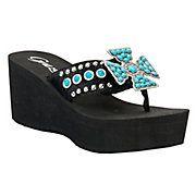 Grazie® Ladies Arena Black Hair w/ Turquoise Stoned Cross Flip Flops