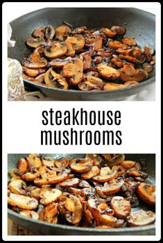 Steakhouse Mushrooms Steakhouse Mushrooms are an easy side for steak or maybe for roasted chicken. You're going to love this simple, scrumptious recipe with a few twists for the best Steakhouse Mushrooms. Mushroom Side Dishes, Mushroom Dish, Vegetable Side Dishes, Vegetable Recipes, Vegetarian Recipes, Cooking Recipes, Healthy Recipes, Veggie Recipes Simple, Grilling Recipes