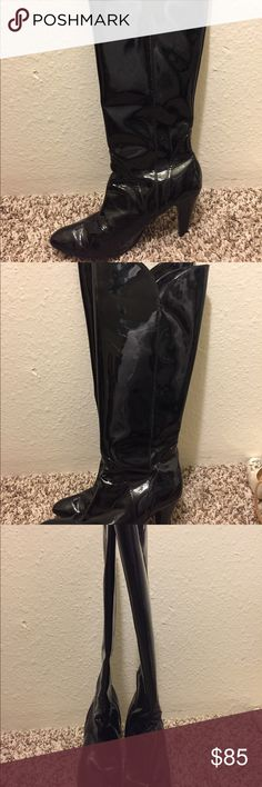"Libertas knee high patent leather boots Libertas knee high patent leather boots Patent leather. Good condition. 3"" high heeled boots. Knee-high. There's some scuffs on the soles but in good condition otherwise. I wear a 5.5-6 US and these fit me fine. These shoes can dress up any outfit and are comfortable to wear. libertas Shoes Heeled Boots"