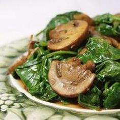 Mushrooms and Spinach Italian Style from Allrecipes.com  This looks like a plan