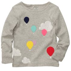 Carter's tees at Kohl's - Shop our wide selection of girls' tops, including this Carter's Hot Air Balloon Tee, at Kohl's. Toddler Fashion, Toddler Outfits, Kids Outfits, Kids Fashion, Carters Baby Girl, Toddler Girl, Carter Kids, Little Girl Dresses, Sewing For Kids