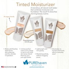Brand-new non-toxic tinted moisturizers, in three gorgeous blend-able shades ... these feel silky smooth on your skin AND smell delicious! ... message Pure Haven Essentials Consultant Annie B. at PHEbyANNIEB@gmail.com ... 'like' my Facebook page and get a new customer discount!