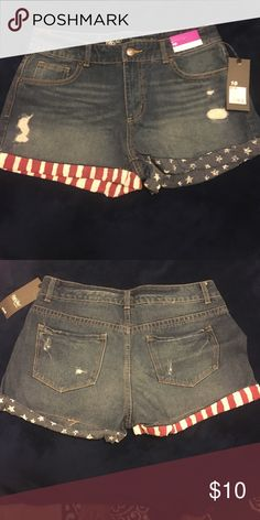 Fourth of July Festive Shorts Slightly distressed, dark denim shorts with Stars and Stripes cuff! Mossimo Supply Co Shorts Jean Shorts