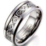 #Gioielli #10: JewelryWe carburo di tungsteno anello da uomo lucido e incastonato di drago celtico 8 millimetri Anniversario fidanzamento matrimonio