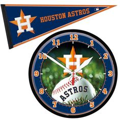Houston Astros MLB Round Wall Clock and Pennant Gift Set
