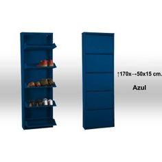 Mueble Zapatero azul de 5 alturas metálico para tener tus zapatos siempre ordenados.