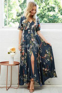 Indiana Maxi Dress in Midnight Garden Print | St. Frock