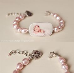 Custom Pearl Bracelet, Large Photo Charm with Sterling Newborn Footprint Charm - P1RB8a by DelaneyJewelry on Etsy https://www.etsy.com/listing/84761261/custom-pearl-bracelet-large-photo-charm