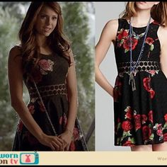 """Beautiful black floral free people dress! Beautiful floral black free people dress!! It was worn in the show """"vampire diaries"""" :) in excellent condition, I've never worn it! Free People Dresses Mini"""