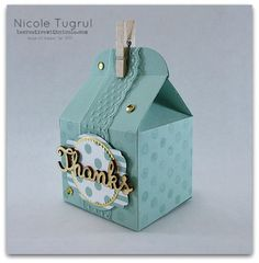 Nicole's treat box: Handmade for You, Mint Macaron dsp, Baker's Box Thinlits, Expressions Natural Elements, & more. All supplies from Stampin' Up!