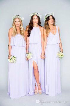 2016 Summer Beach Bohemian Bridesmaid Dresses Mixed Chiffon Split Side Custom Made Maid Of Honor Sexy Boho Party Gowns