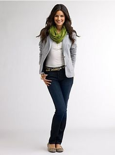 Love the cute grey blazer and green combo. Super affordable too.
