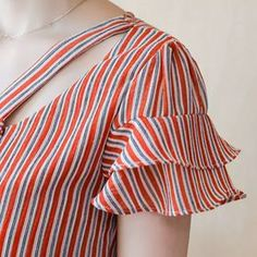 Summer Women Chiffon Blouse Shirt Blouses 2018 Fashion Elegant Hollow Striped Shirts Short Sleeve Of Kurti Sleeves Design, Kurta Neck Design, Sleeves Designs For Dresses, Blouse Neck Designs, Sleeve Designs, Kurti Designs Party Wear, Kurta Designs, Mode Abaya, Clothes For Women