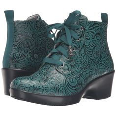 Alegria Eliza (Teal Tooled) Women's Boots ($99) ❤ liked on Polyvore featuring shoes, boots, ankle boots, green, short boots, mid heel ankle boots, alegria shoes, green boots and alegria boots